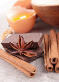 Cinnamon, anise and chocolate — Stock Photo