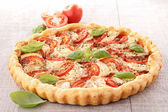 Tomato,cheese and basil tart — Stock Photo