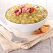 Bowl of split pea soup and bacon — Stock Photo #11840445