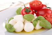 Mozzarella, tomato ,basil and olive oil — Stock Photo