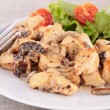 Meat with mushrooms sauce - Stock Photo