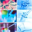 Test tubes closeup on blue background. — Stock Photo #11963215