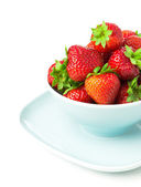 Strawberry berry with green leaf and isolated on white — Stock Photo