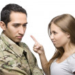 Angry Military Wife Points at Serviceman — Stock Photo