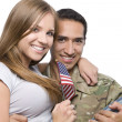 Military Man has Happy Wife in His Arm — Stock Photo