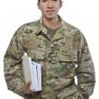 Latino Military Man with School Books — Stock Photo