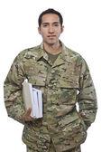 Latino Military Man with School Books — Stock Photo