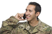 Latino Military Man with Cellphone — Stock Photo