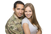 Happy Military Couple Embrace — Stock Photo