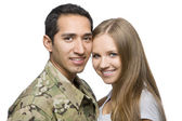 Smiling Military Couple Pose for a Portrait — Photo