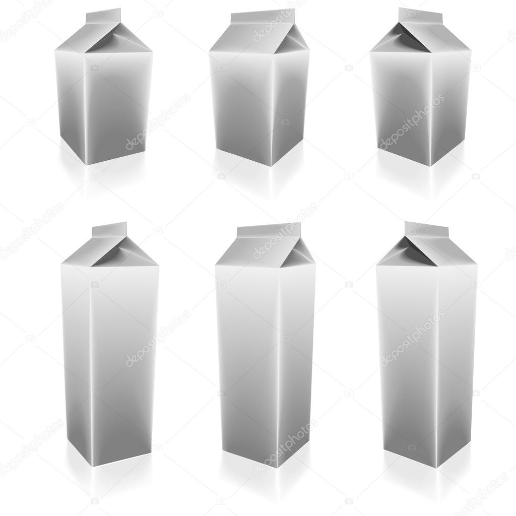 Illustration of a set of blank milk packs with different sizes and angles — Grafika wektorowa #11278433