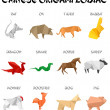 Chinese origami zodiac signs — Vector de stock