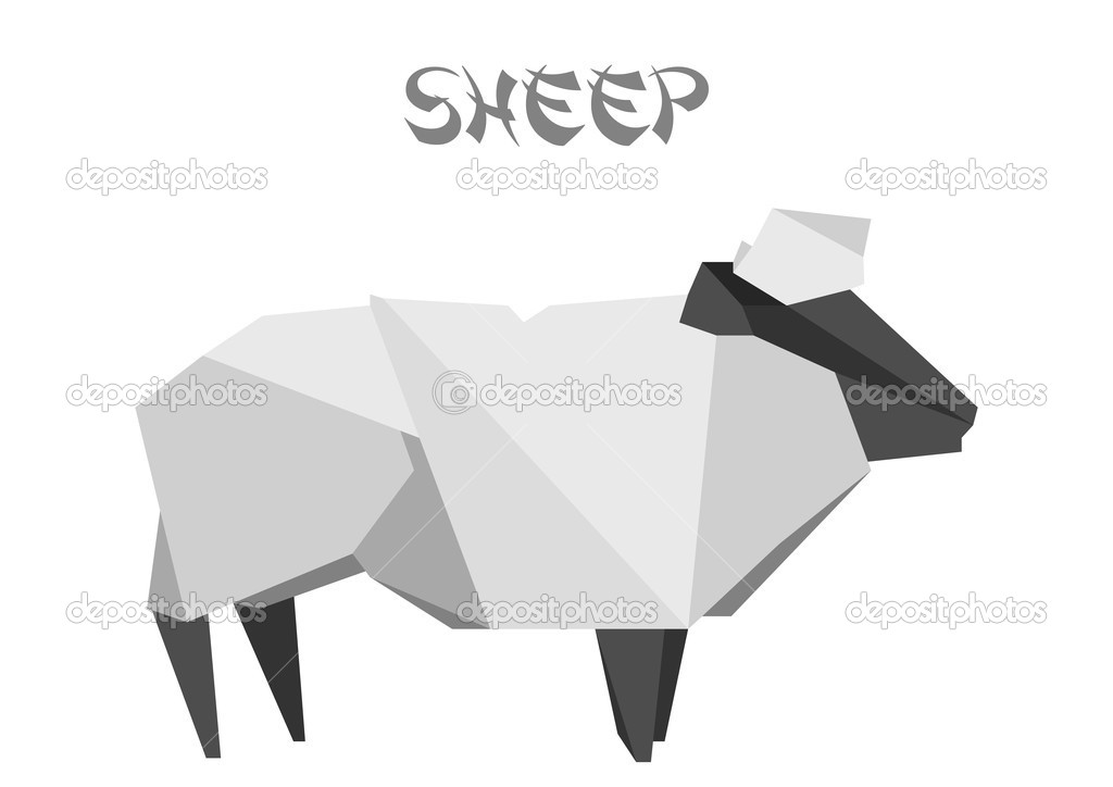 Illustration of an origami sheep — Stock Vector #12396558