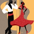 Couple of flamenco dancer — Stock Vector
