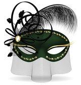 Black-green half-mask — Stock Vector