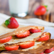 Pancake with strawberry — Stock Photo
