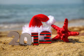 Wooden 2013 year number and Santa's hat — Foto de Stock