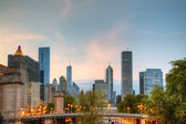 Cityscape of Chicago in the evening — Stok fotoğraf