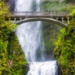 Stock Photo: Multnomah falls and bridge in morning sun light