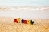 Wooden colorful word 'Holiday' — 图库照片