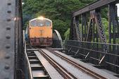 Train running on the bridge — Stock Photo