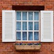 Vintage window on red brick wall — Stock Photo #12160146