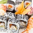 A set of Asian rolls, sushi and sashimi — Stock Photo