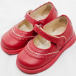 Red children shoes — Stock Photo