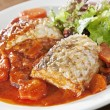 Fish with tomato sauce — Stockfoto