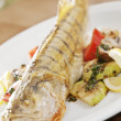 Grilled fish with potato and lime — Foto de Stock