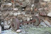 Antique iron wheels — Stock Photo