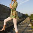 Young woman on railway — Foto Stock