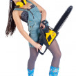 Pretty girl with chainsaw — Stock Photo