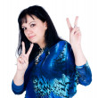 "Pretty woman with ""victory"" gesture — Stock Photo"