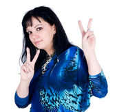 """Pretty woman with """"victory"""" gesture — Stock Photo"""