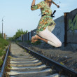 Jumping young woman — Lizenzfreies Foto