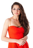 Pretty girl in red — Stock Photo