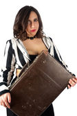 Pretty woman with suitcase — Stock Photo