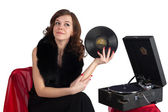 Pretty woman with gramophone — Stock Photo