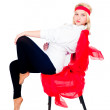 Pretty girl on chair — Stock Photo