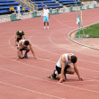 Stock Photo: Boys compete in 400 meters race