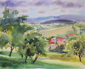 Austrian landscape painted by watercolor — Stock Photo