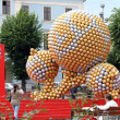 CHERNIVTSI, UKRAINE - JUNE 08: Art installation of the soccer balls proximate to the  EURO 2012 in the Central Square in Chernivtsi, Ukraine on June 08, 2012. It consists of 1,600 soccer balls. — Stock Photo