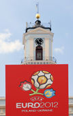 CHERNIVTSI, UKRAINE - JUNE 08: Official logo of the UEFA European Football Championship EURO 2012 Poland - Ukraine in the Central Square of Chernivtsi, Ukraine on June 08, 2012. — Stock Photo
