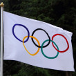 Olympic flag waving — Stock Photo