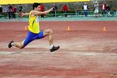 Athlete on the international athletic meet between UKRAINE, TURKEY and BELARUS on May 25, 2012 in Yalta, Ukraine. — Stock Photo