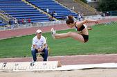 Athlete on the international athletic meet between UKRAINE, TURKEY and BELARUS on May 25, 2012 in Yalta, Ukraine. — Foto de Stock