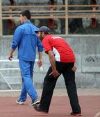 Coach on the international athletic meet between UKRAINE, TURKEY and BELARUS on May 25, 2012 in Yalta, Ukraine. — Stock Photo