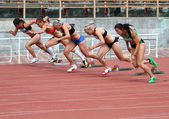 Sinista Ina, Kuzminok Oksana, Mohnuk Nastia, Fedorova Alina, Melnichenko Anna compete in heptathlon on Ukrainian Cup in Athletics on May 28, 2012 in Yalta, Ukraine. — 图库照片