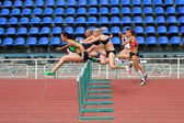 Melnichenko Anna, Fedorova Alina, Mohnuk Nastia, Sinisa Ina, Kuzminok Oksana compete in heptathlon on Ukrainian Cup in Athletics on May 28, 2012 in Yalta, Ukraine. — Stock Photo